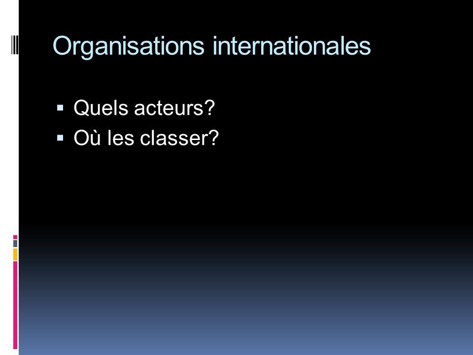 Organisations internationales Quels acteurs? Où les classer?