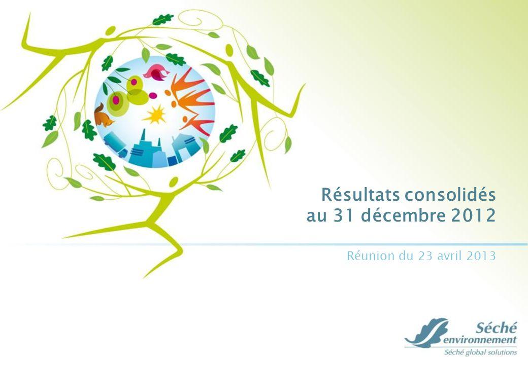 Résultats consolidés au 31 décembre 2012 12 Résultat net part du Groupe Données consolidées IFRS en M QP de la perte comptable de Hime limitée à la perte au 30 juin 2012 Au 31 décembre20112012 Résultat net des sociétés intégrées44,0(73,2) QP résultats des entreprises associées(28,3) (9,6) Minoritaires (0,2) (0,4) Résultat net consolidé part du groupe15,9(82,4)