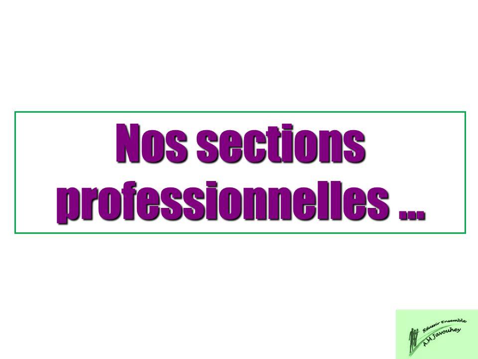 Nos sections professionnelles …