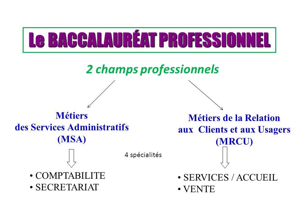 Le BACCALAURÉAT PROFESSIONNEL Métiers des Services Administratifs (MSA) Métiers de la Relation aux Clients et aux Usagers (MRCU) COMPTABILITE SECRETAR