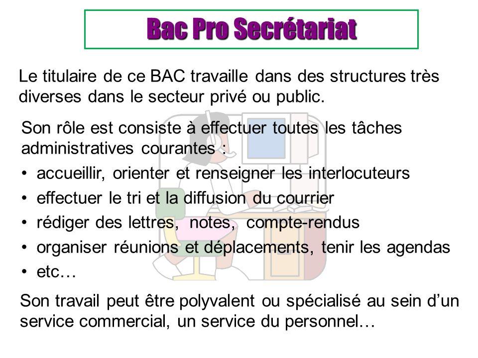 Bac Pro Secrétariat Le titulaire de ce BAC travaille dans des structures très diverses dans le secteur privé ou public. Son travail peut être polyvale