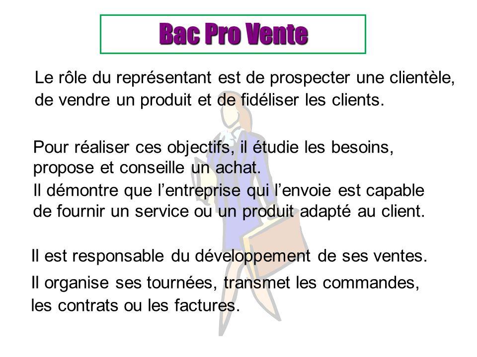 Bac Pro Vente Le rôle du représentant est de prospecter une clientèle, de vendre un produit et de fidéliser les clients. Il est responsable du dévelop