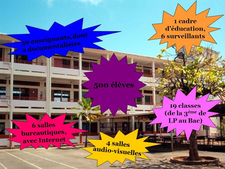 6 salles bureautiques, avec Internet 4 salles audio-visuelles 1 cadre déducation, 6 surveillants 500 élèves 50 enseignants, dont 2 documentalistes 19