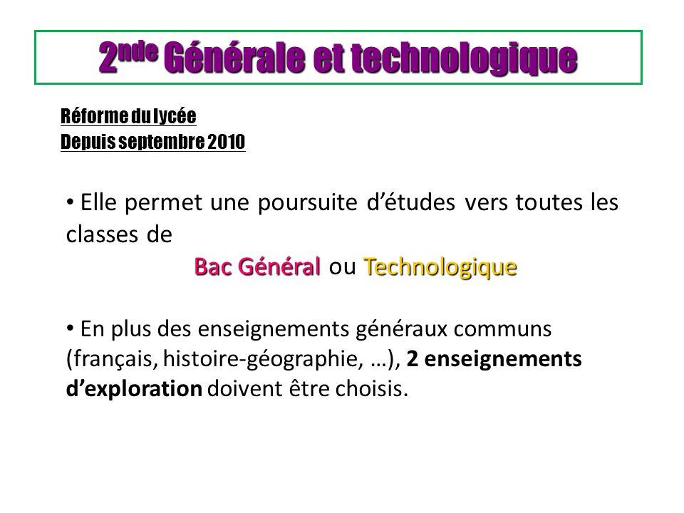 2 nde Générale et technologique Elle permet une poursuite détudes vers toutes les classes de Bac GénéralTechnologique Bac Général ou Technologique En