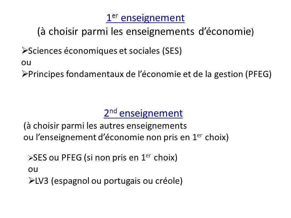 Sciences économiques et sociales (SES) ou Principes fondamentaux de léconomie et de la gestion (PFEG) 1 er enseignement (à choisir parmi les enseignem