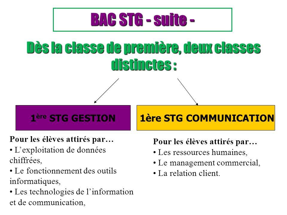 1 ère STG GESTION1ère STG COMMUNICATION Dès la classe de première, deux classes distinctes : BAC STG - suite - Pour les élèves attirés par… Les ressou