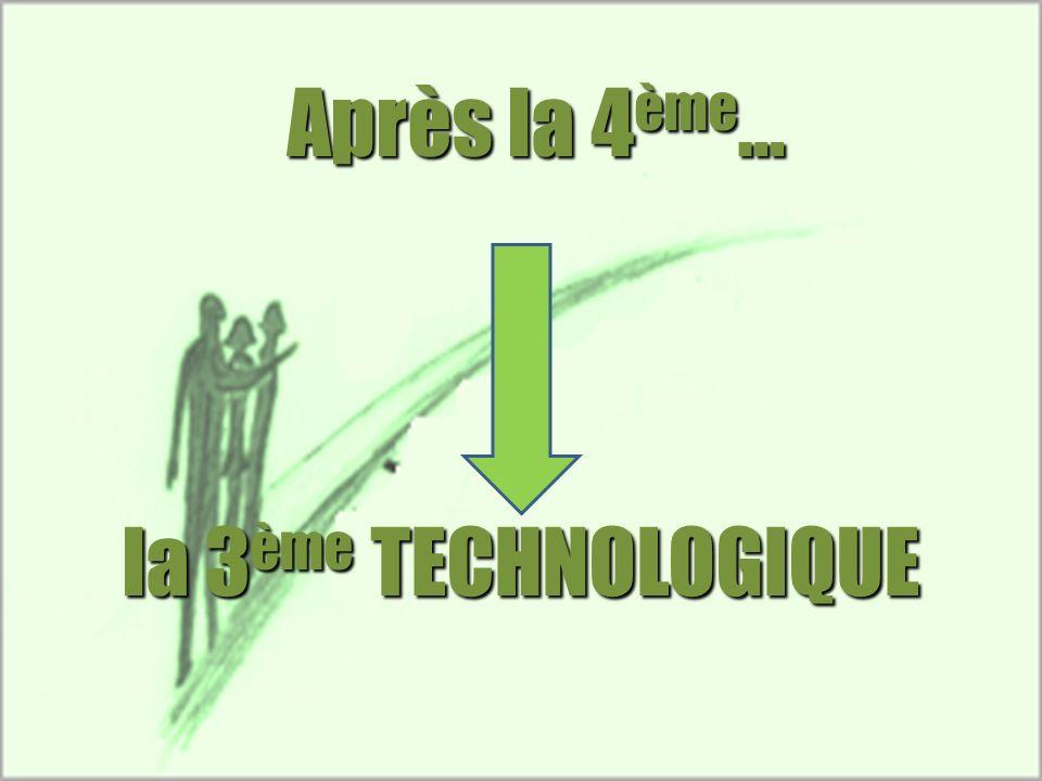 Après la 4 ème … la 3 ème TECHNOLOGIQUE