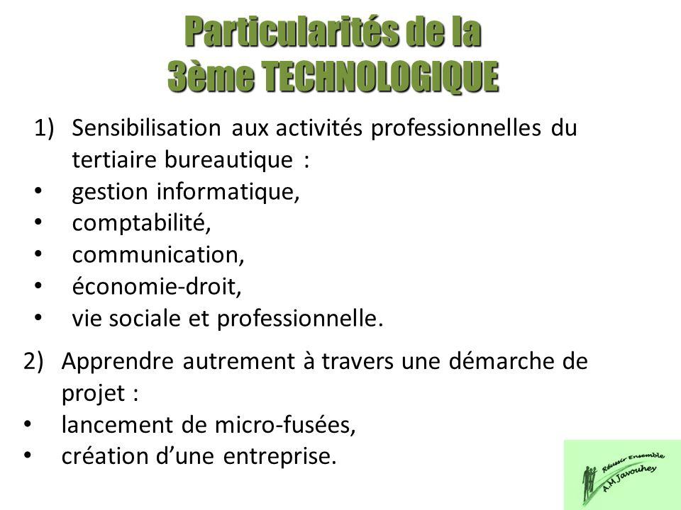 1)Sensibilisation aux activités professionnelles du tertiaire bureautique : gestion informatique, comptabilité, communication, économie-droit, vie soc