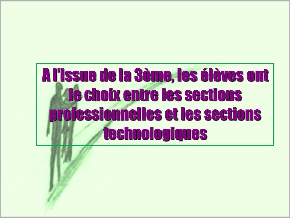 A lissue de la 3ème, les élèves ont le choix entre les sections professionnelles et les sections technologiques
