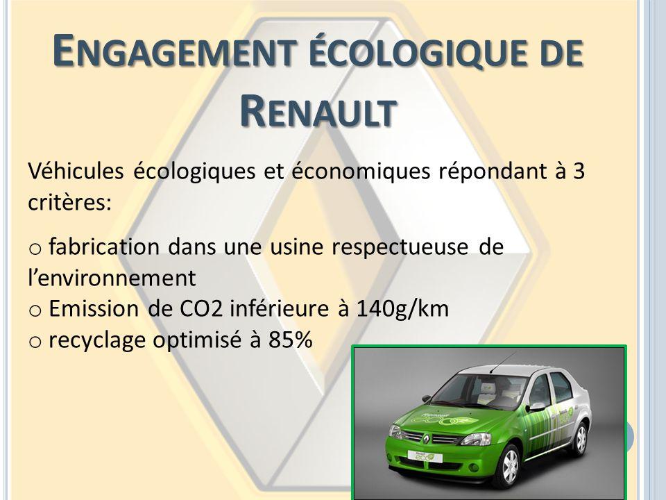 E NGAGEMENT ÉCOLOGIQUE DE R ENAULT Véhicules écologiques et économiques répondant à 3 critères: o fabrication dans une usine respectueuse de lenvironn