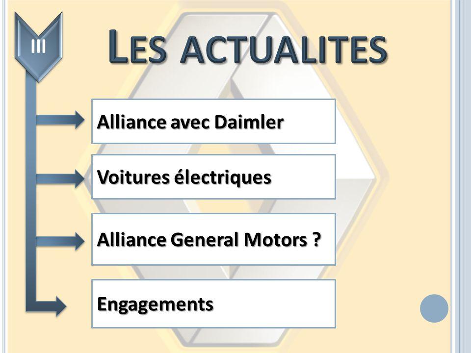 Alliance avec Daimler Voitures électriques Alliance General Motors ? Engagements III
