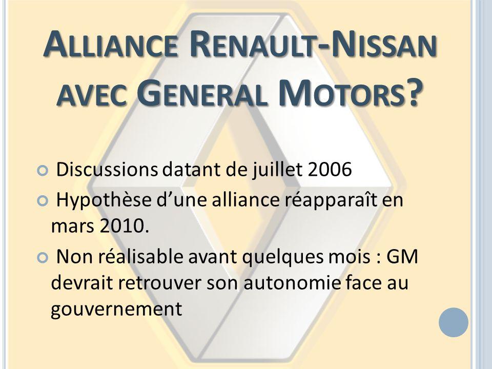 A LLIANCE R ENAULT -N ISSAN AVEC G ENERAL M OTORS ? Discussions datant de juillet 2006 Hypothèse dune alliance réapparaît en mars 2010. Non réalisable
