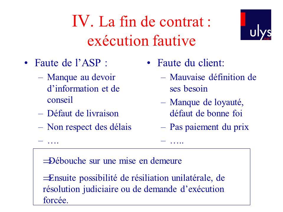 IV. La fin de contrat : exécution fautive Faute de lASP : –Manque au devoir dinformation et de conseil –Défaut de livraison –Non respect des délais –…