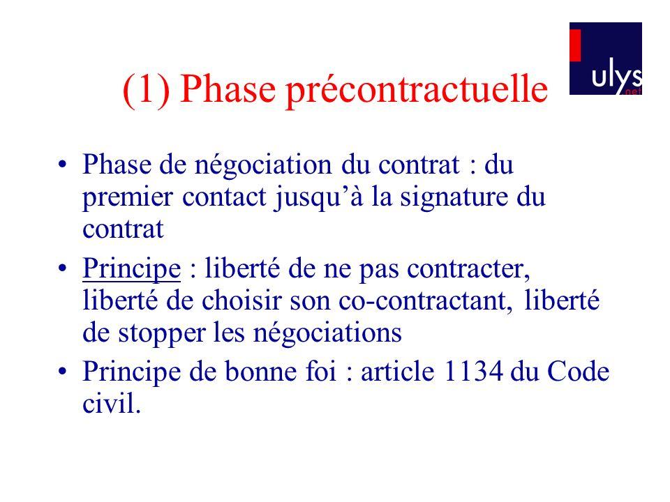 (1) Phase précontractuelle Phase de négociation du contrat : du premier contact jusquà la signature du contrat Principe : liberté de ne pas contracter