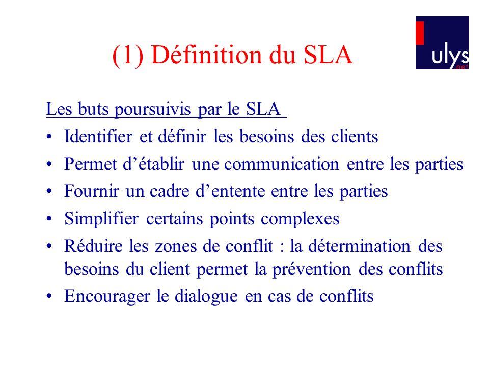 (1) Définition du SLA Les buts poursuivis par le SLA Identifier et définir les besoins des clients Permet détablir une communication entre les parties