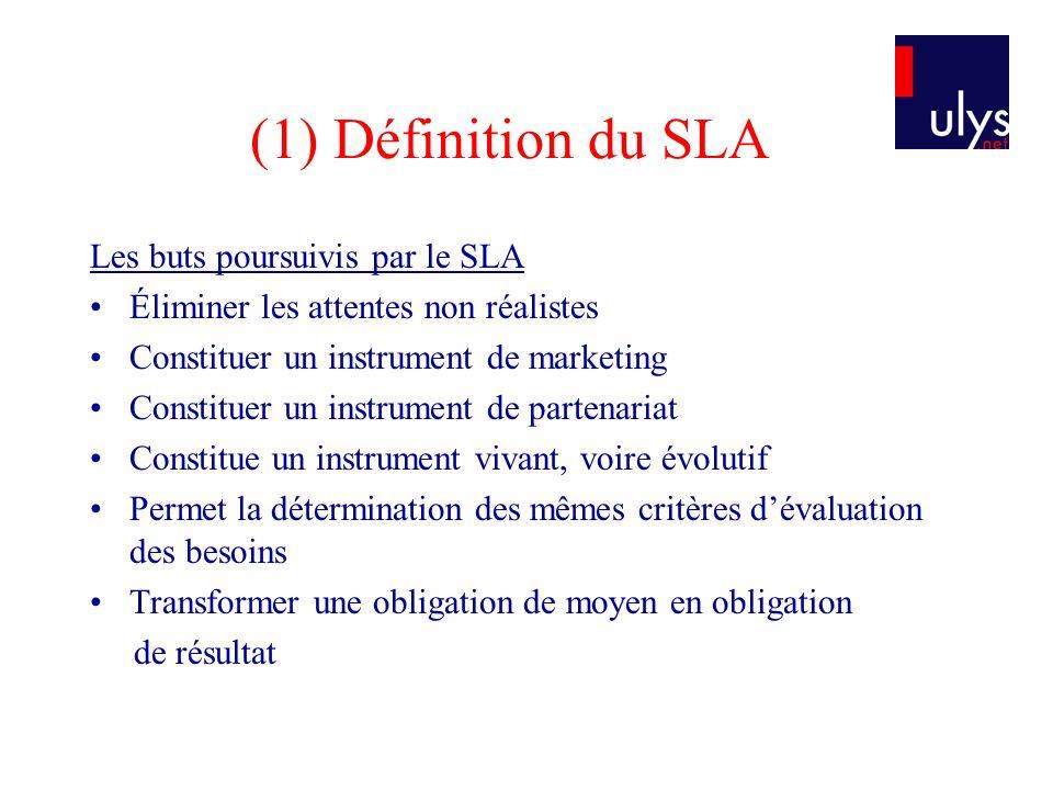 (1) Définition du SLA Les buts poursuivis par le SLA Éliminer les attentes non réalistes Constituer un instrument de marketing Constituer un instrumen