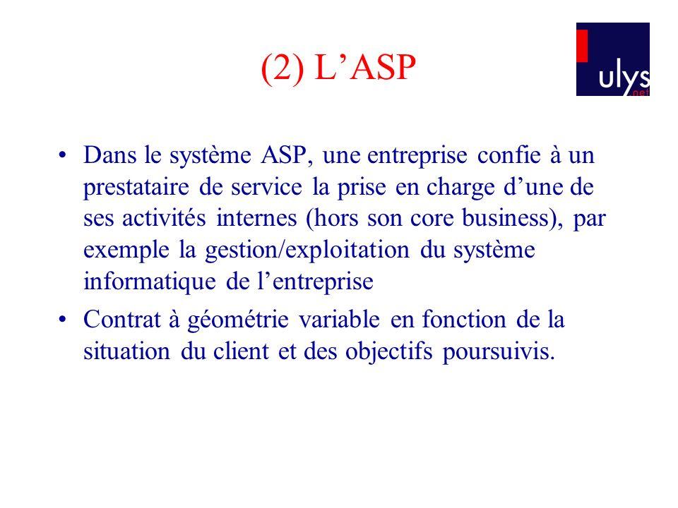 (2) LASP Dans le système ASP, une entreprise confie à un prestataire de service la prise en charge dune de ses activités internes (hors son core busin