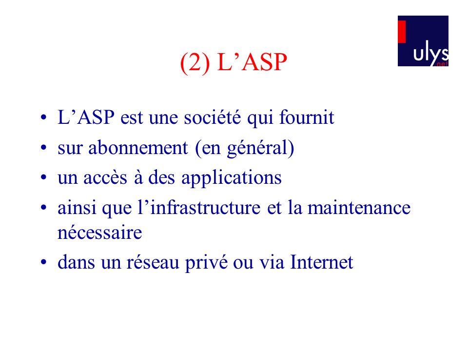 (2) LASP LASP est une société qui fournit sur abonnement (en général) un accès à des applications ainsi que linfrastructure et la maintenance nécessai