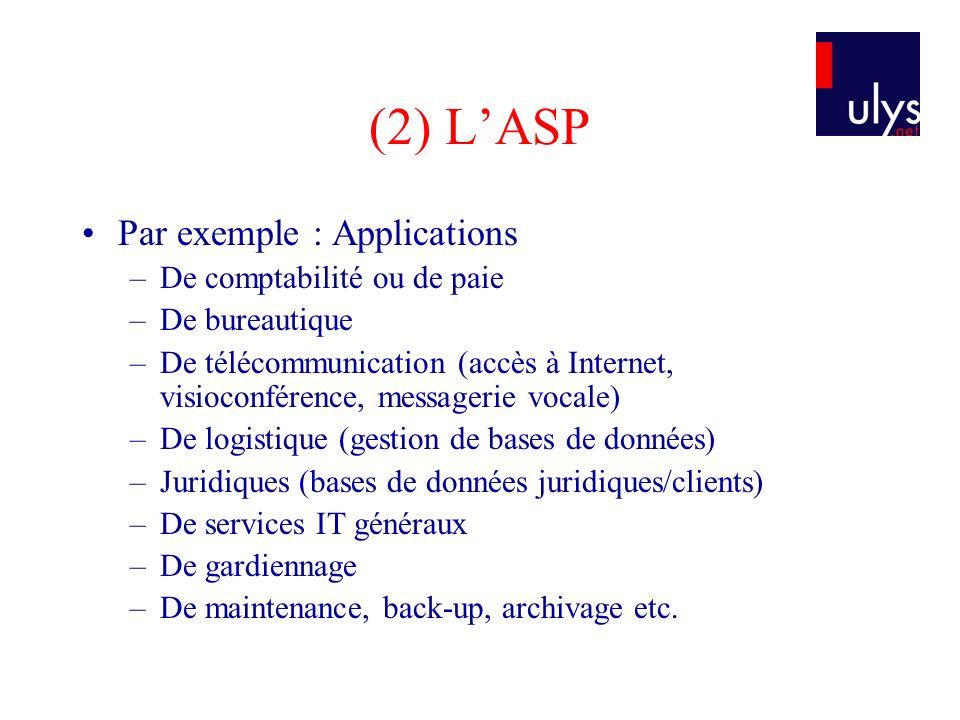 (2) LASP Par exemple : Applications –De comptabilité ou de paie –De bureautique –De télécommunication (accès à Internet, visioconférence, messagerie v