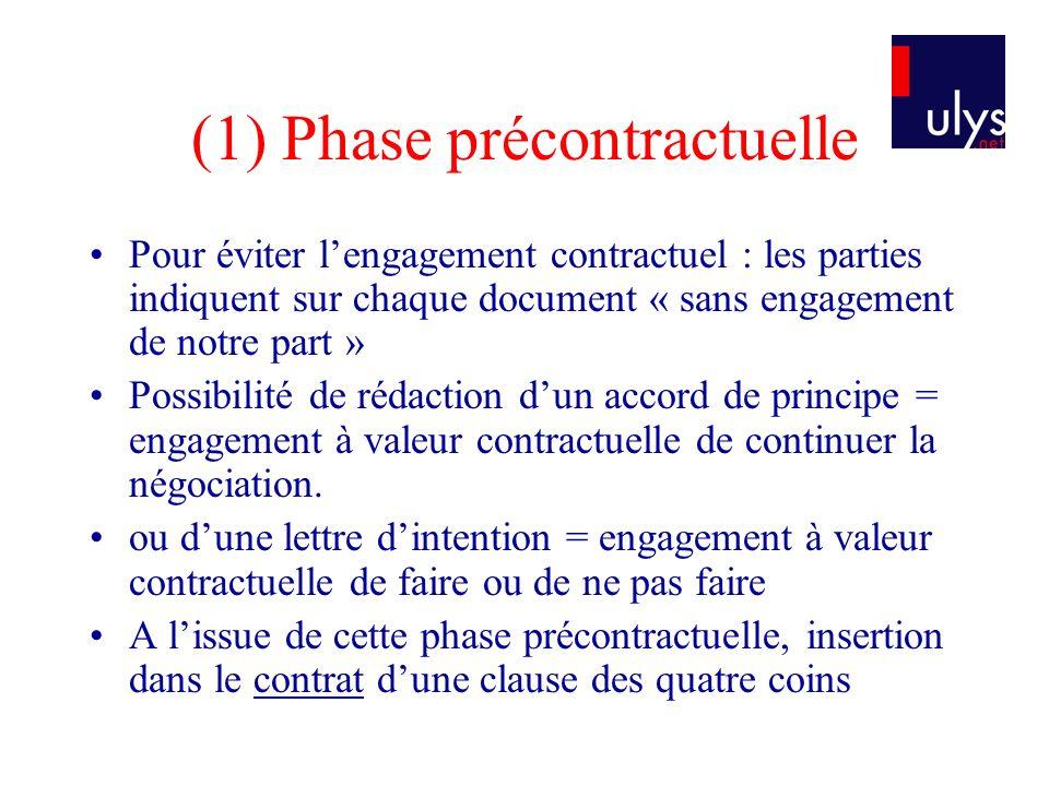 (1) Phase précontractuelle Pour éviter lengagement contractuel : les parties indiquent sur chaque document « sans engagement de notre part » Possibili