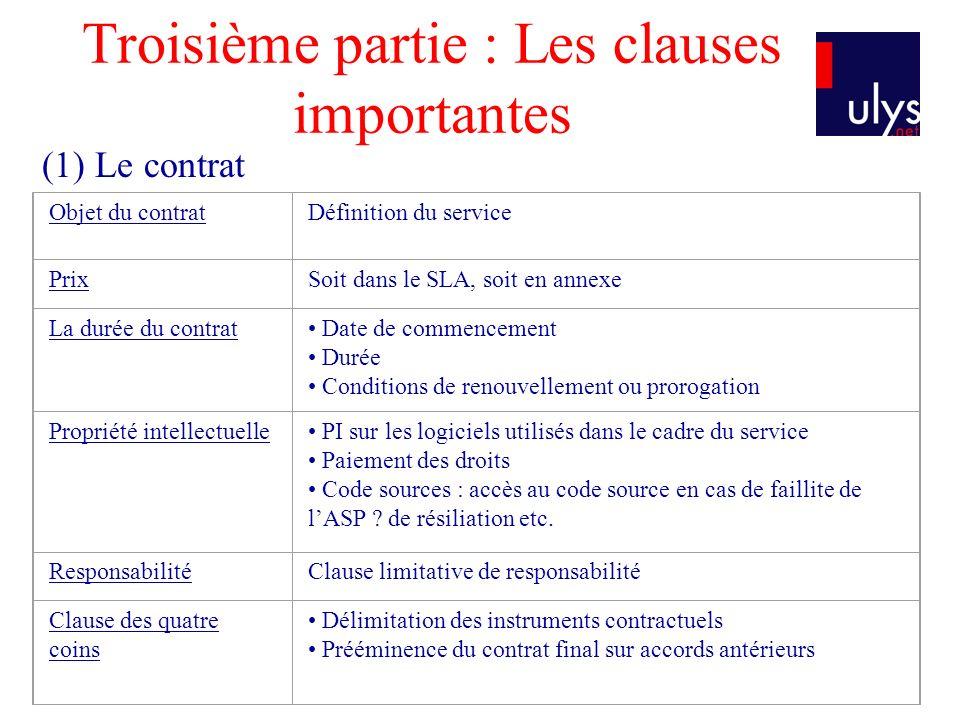 Troisième partie : Les clauses importantes Objet du contratDéfinition du service PrixSoit dans le SLA, soit en annexe La durée du contrat Date de comm
