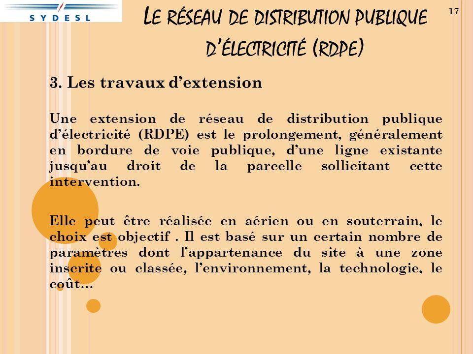 3. Les travaux dextension Une extension de réseau de distribution publique délectricité (RDPE) est le prolongement, généralement en bordure de voie pu