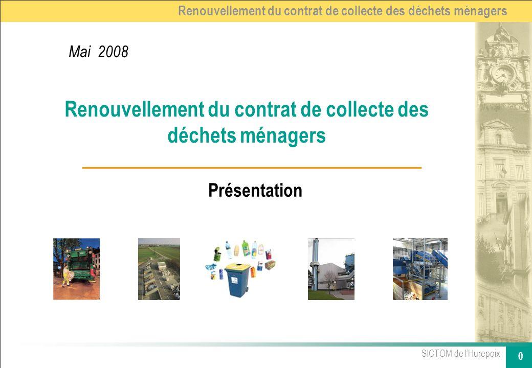 SICTOM de lHurepoix 0 Renouvellement du contrat de collecte des déchets ménagers Présentation Mai 2008