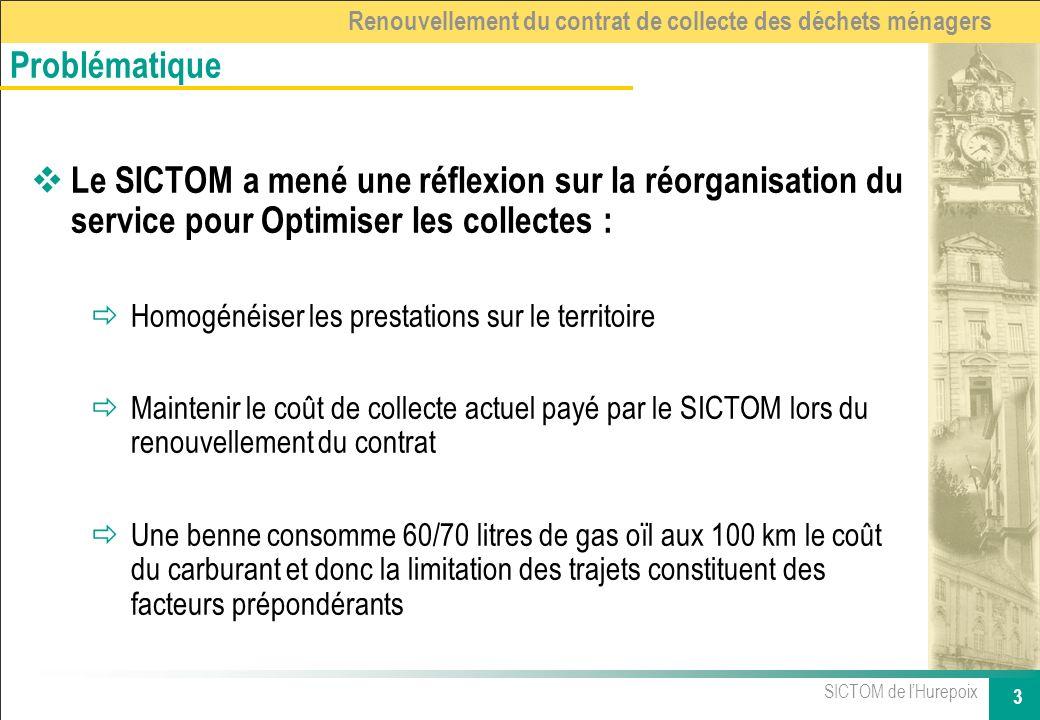 SICTOM de lHurepoix 3 Renouvellement du contrat de collecte des déchets ménagers Le SICTOM a mené une réflexion sur la réorganisation du service pour
