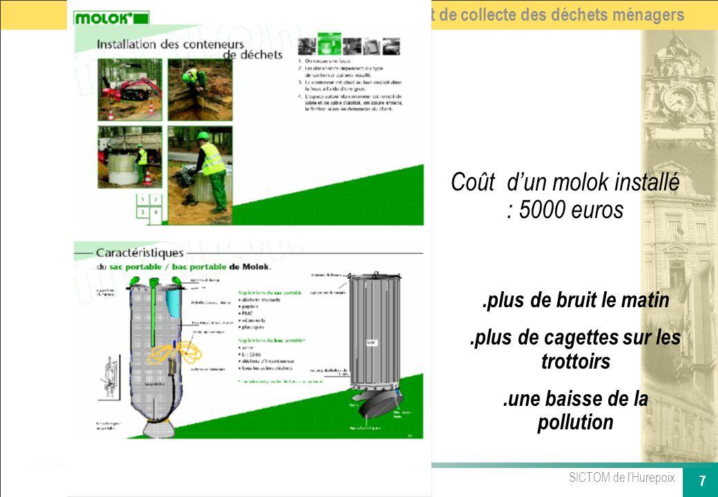 SICTOM de lHurepoix 7 Renouvellement du contrat de collecte des déchets ménagers Coût dun molok installé : 5000 euros.plus de bruit le matin.plus de c