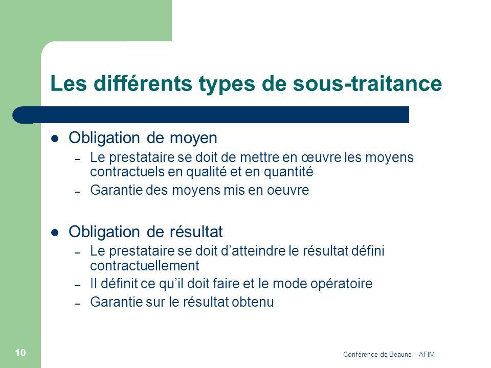 Conférence de Beaune - AFIM 10 Les différents types de sous-traitance Obligation de moyen – Le prestataire se doit de mettre en œuvre les moyens contr