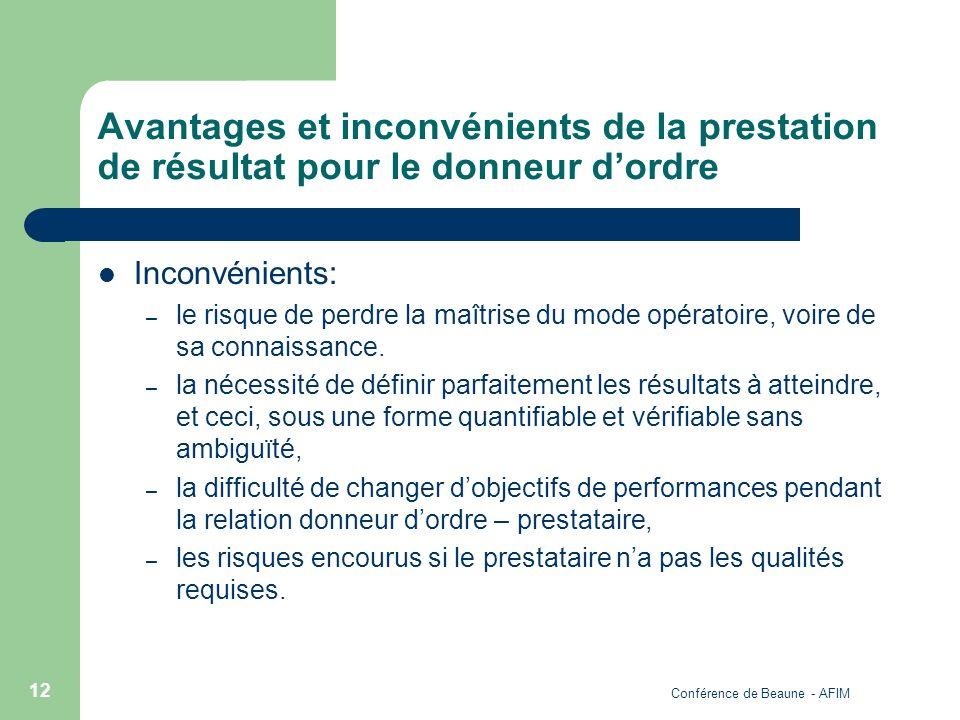 Conférence de Beaune - AFIM 12 Avantages et inconvénients de la prestation de résultat pour le donneur dordre Inconvénients: – le risque de perdre la