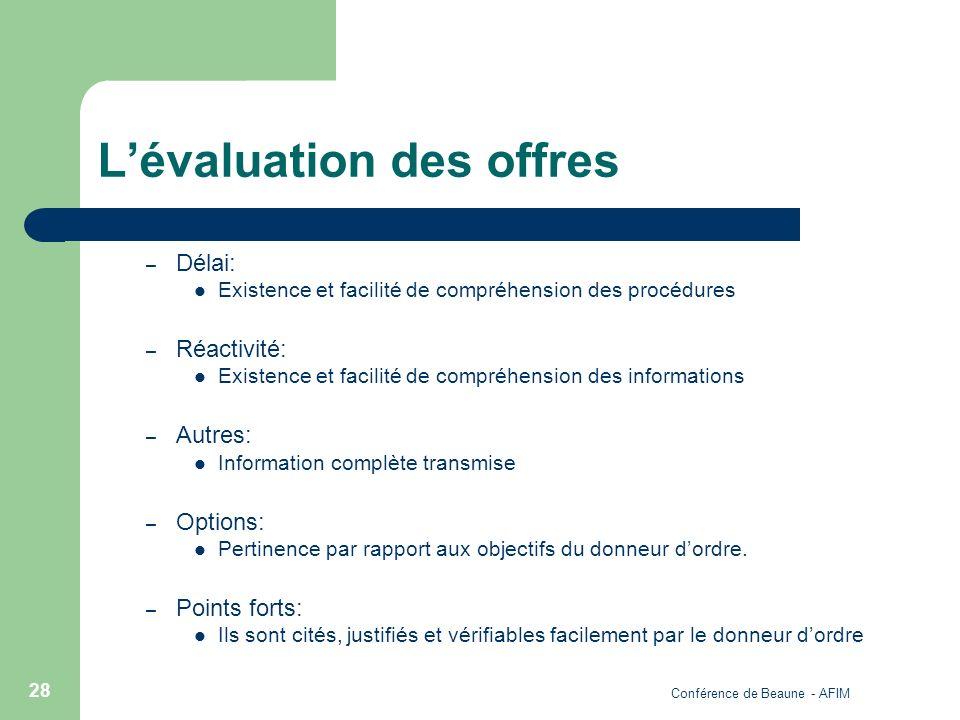 Conférence de Beaune - AFIM 28 Lévaluation des offres – Délai: Existence et facilité de compréhension des procédures – Réactivité: Existence et facili