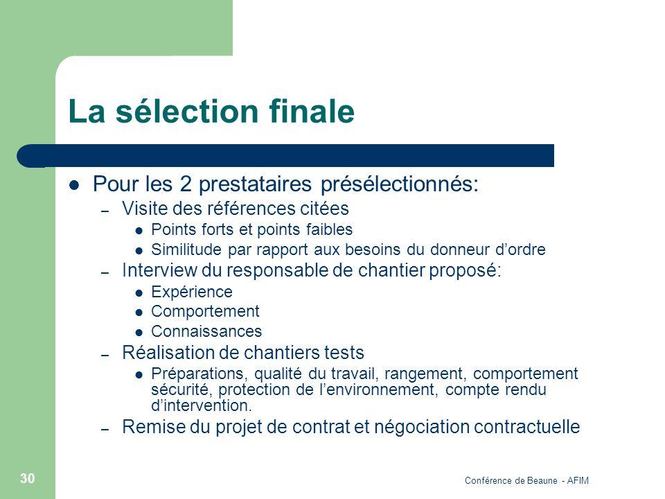 Conférence de Beaune - AFIM 30 La sélection finale Pour les 2 prestataires présélectionnés: – Visite des références citées Points forts et points faib