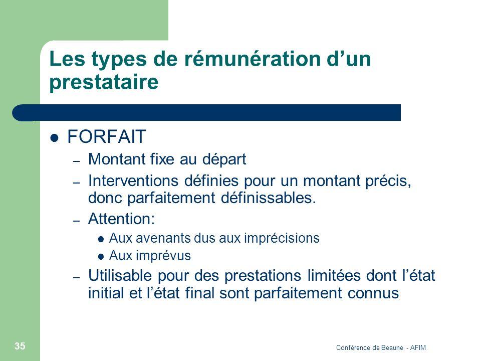 Conférence de Beaune - AFIM 35 Les types de rémunération dun prestataire FORFAIT – Montant fixe au départ – Interventions définies pour un montant pré