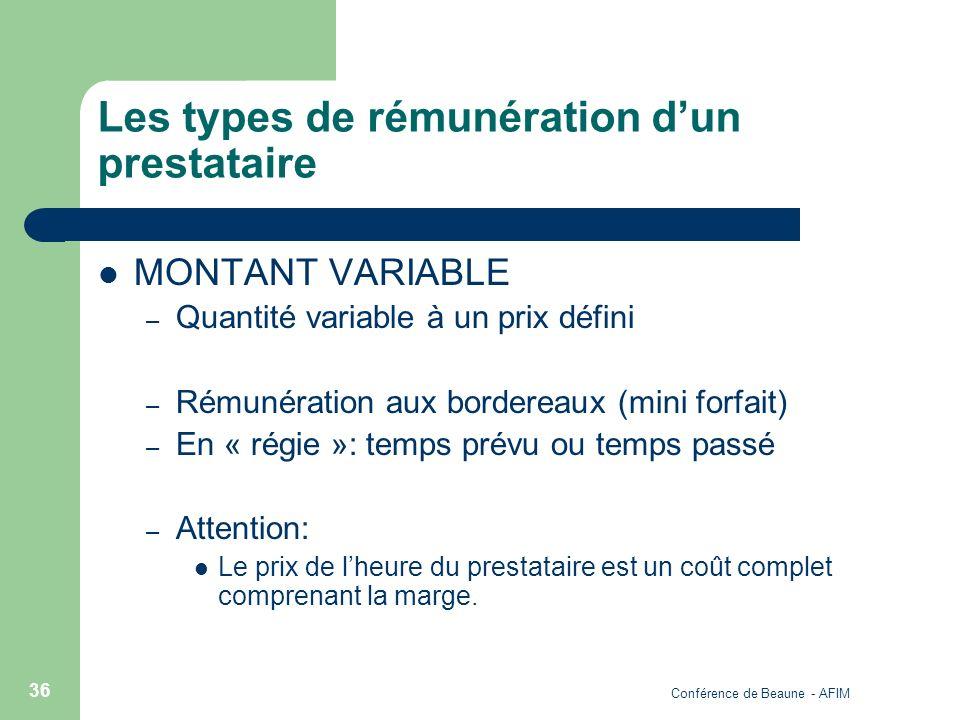 Conférence de Beaune - AFIM 36 Les types de rémunération dun prestataire MONTANT VARIABLE – Quantité variable à un prix défini – Rémunération aux bord