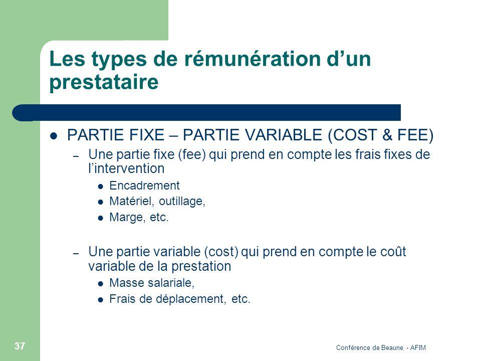 Conférence de Beaune - AFIM 37 Les types de rémunération dun prestataire PARTIE FIXE – PARTIE VARIABLE (COST & FEE) – Une partie fixe (fee) qui prend