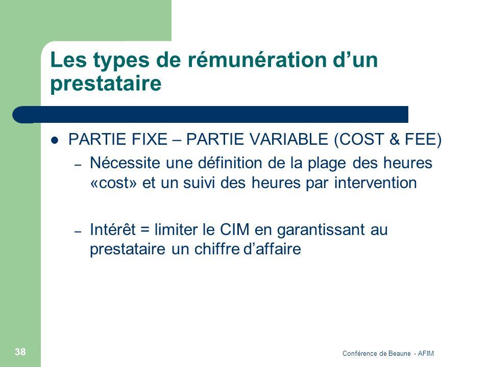 Conférence de Beaune - AFIM 38 Les types de rémunération dun prestataire PARTIE FIXE – PARTIE VARIABLE (COST & FEE) – Nécessite une définition de la p