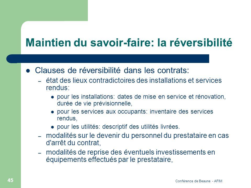 Conférence de Beaune - AFIM 45 Maintien du savoir-faire: la réversibilité Clauses de réversibilité dans les contrats: – état des lieux contradictoires