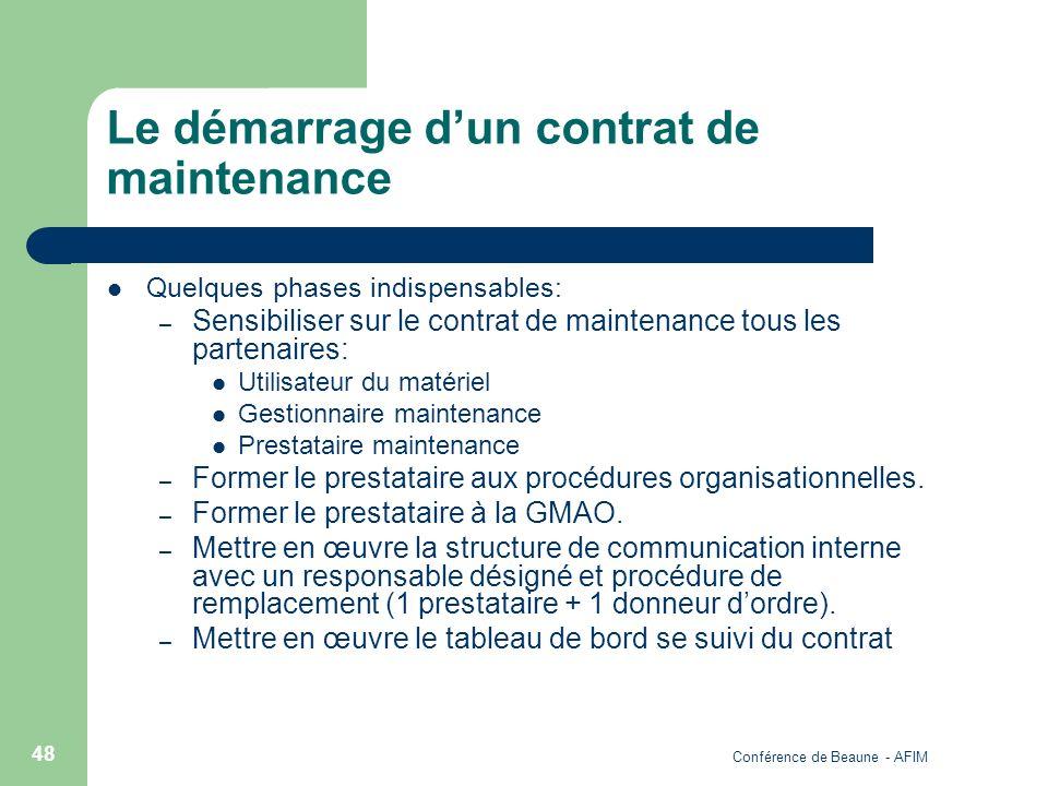 Conférence de Beaune - AFIM 48 Le démarrage dun contrat de maintenance Quelques phases indispensables: – Sensibiliser sur le contrat de maintenance to
