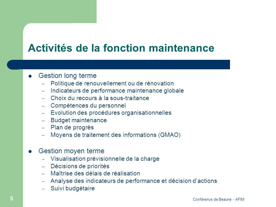 Conférence de Beaune - AFIM 5 Activités de la fonction maintenance Gestion long terme – Politique de renouvellement ou de rénovation – Indicateurs de