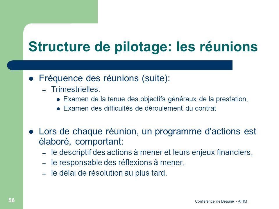 Conférence de Beaune - AFIM 56 Structure de pilotage: les réunions Fréquence des réunions (suite): – Trimestrielles: Examen de la tenue des objectifs