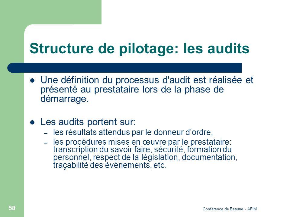 Conférence de Beaune - AFIM 58 Structure de pilotage: les audits Une définition du processus d'audit est réalisée et présenté au prestataire lors de l