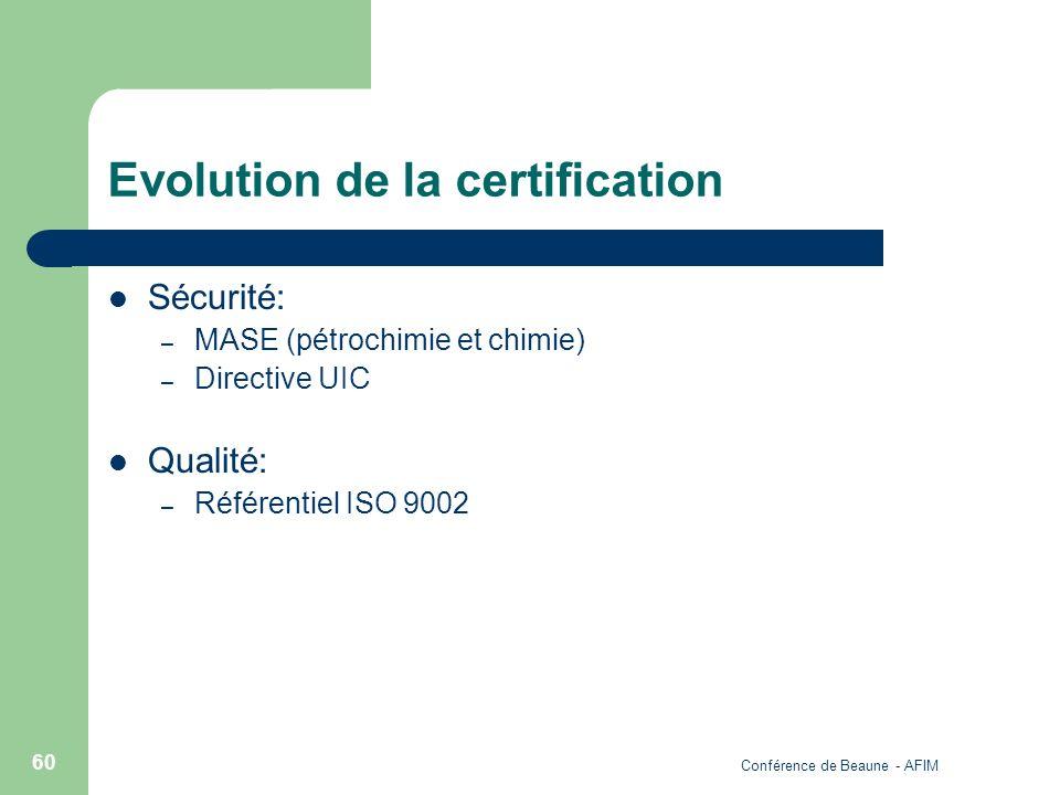 Conférence de Beaune - AFIM 60 Evolution de la certification Sécurité: – MASE (pétrochimie et chimie) – Directive UIC Qualité: – Référentiel ISO 9002