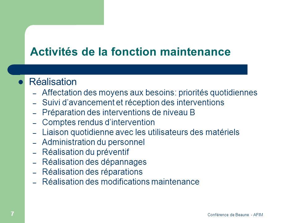 Conférence de Beaune - AFIM 7 Activités de la fonction maintenance Réalisation – Affectation des moyens aux besoins: priorités quotidiennes – Suivi da