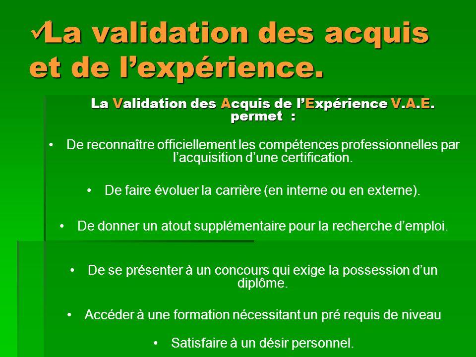 La validation des acquis et de lexpérience.La validation des acquis et de lexpérience.