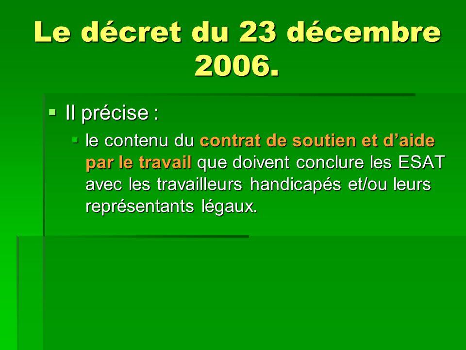 Le décret du 23 décembre 2006.