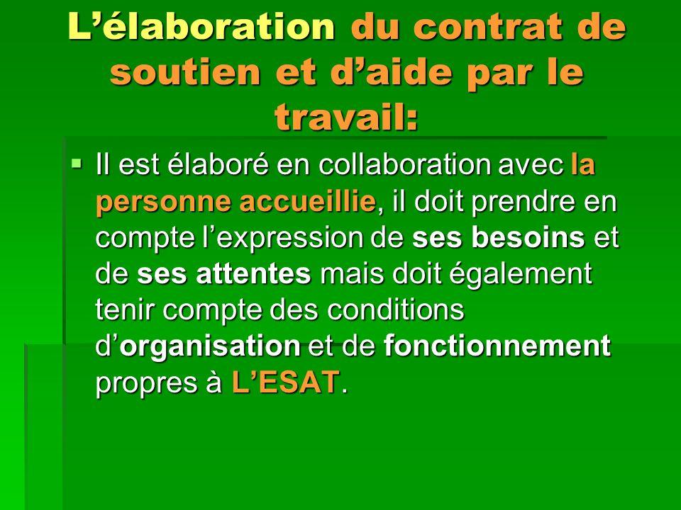 Lélaboration du contrat de soutien et daide par le travail: Il est élaboré en collaboration avec la personne accueillie, il doit prendre en compte lexpression de ses besoins et de ses attentes mais doit également tenir compte des conditions dorganisation et de fonctionnement propres à LESAT.
