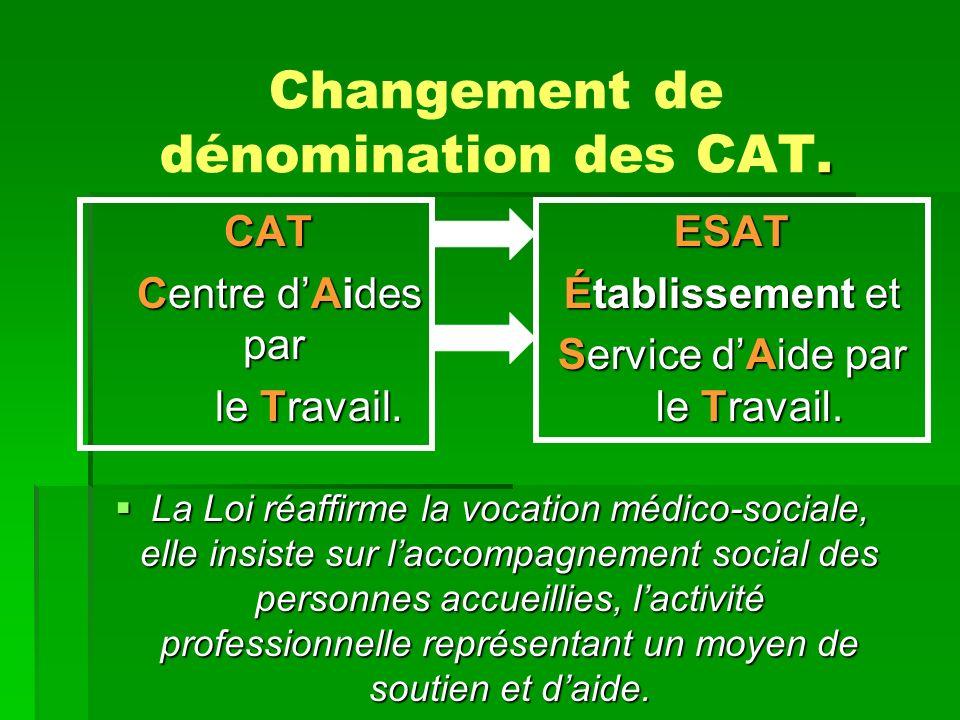 Changement de dénomination des CAT.CAT CAT Centre dAides par Centre dAides par le Travail.