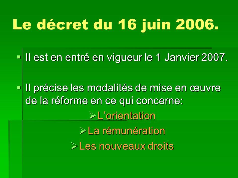 Le décret du 16 juin 2006.Il est en entré en vigueur le 1 Janvier 2007.