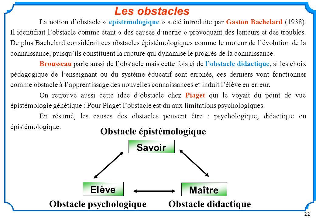 22 La notion dobstacle « épistémologique » a été introduite par Gaston Bachelard (1938).